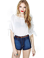 Women's Sexy Casual Inelastic ½ Length Sleeve Short Blouse (Polyester)
