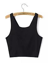 Women's Solid White/Black Vest , U Neck Sleeveless Backless