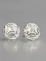 Fashion Rose Design S925 Silver Plated Stud Earrings