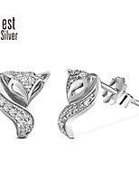 S925 Sterling Silver Plating Platinum Set Auger Fox Stud Earrings R020