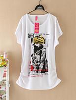 Women's Print Black/Yellow T-shirt , Round Neck Short Sleeve