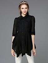 Embroidery Lace Hollow Vintage Style Women Fashion Autumn Plus Size Double Layer 3/4 Sleeve Irregular Blouse Shirt