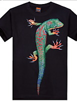 Men's 3D O-Neck Short-sleeve Gecko Printing T-Shirt (Cotton)