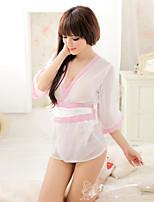 Women Lycra White Thin Robes & Slippers/Sexy Little Fantasies/Sleepwear Gowns