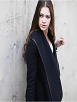 Women's Solid Blue Coat , Casual Long Sleeve Polyester