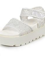 Women's Shoes Tulle Platform Open Toe Sandals Casual Black/White