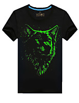 Men's Short Sleeve T-Shirt , Cotton Casual/Plus Sizes Print