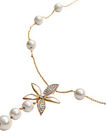 Elegant 18k Gold Plating Alloy with Freshwater Pearl High Luster Pendant Necklace