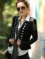 Women's Fashion Black Work Long Sleeve Slim Blazer