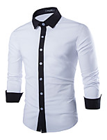 Men's Long Sleeve Shirt , Polyester Casual/Work Pure