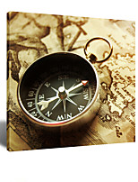 VISUAL STAR® LET LOVE LEAD THE WAY - Old Map with Compass Canvas Wall Art for Home Decoration Ready to Hang