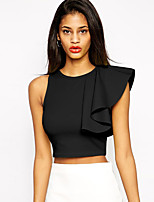 Women's One Shoulder Ruffle Crew Neck Sleeveless Crop Top