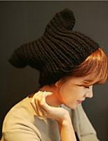 Women Cute Cat Ears Wool Female Hat Knitwear Hat