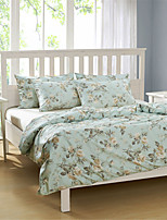 H&C 100% Cotton 1200TC Duvet Cover Set 4-Piece Yellow Flowers Green Leaves Pattern Light Blue Background  HT-006