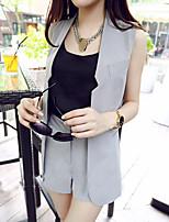 Women's Casual/Work Sleeveless Cardigan Vest Suit(Vest&Shorts)