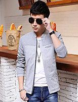 Men's Casual Pure Long Sleeve Regular Jacket (Cotton)