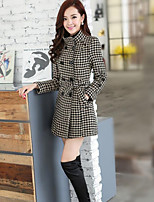 Women's Black/Brown Trench Coat , Casual/Plus Sizes Long Sleeve Cotton/Polyester Pocket/Button