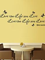 Tatuajes de pared pegatinas de pared de estilo de vida amor palabras inglesas en vivo&cita pegatinas de pared del pvc