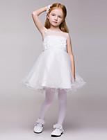 Flower Girl Dress Knee-length Lace/Tulle A-line Sleeveless Dress