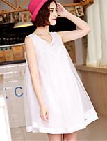 Women's Sexy Casual Print Cute Plus Sizes Micro-elastic Sleeveless Knee-length Maternity Dress (Mesh/Cotton)