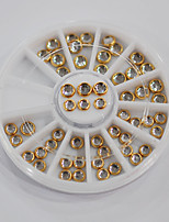 60pcs/set Clear Rhinestones with Golden Metal 3D Nail Art Decorations DIY Jewelry Round Wheel 3mm to 4mm