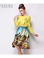 Women's Sexy/Bodycon/Print/Party Micro-elastic Medium Knee-length Skirts (Polyester)