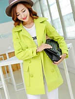 Women's Casual Long Sleeve Long Trench Coat (Microfiber)