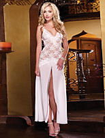 Women Polyester Western Style V Neck Sexy Little Fantasies/Sleepwear Gowns White