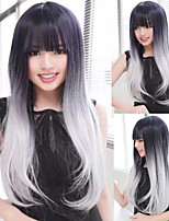 Fashion two-tone 1B/Silver Blonde Fashion ombre celebrity wig Straight female elegant wigs straight wig synthetic