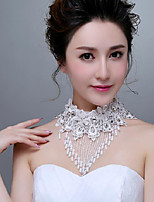 Korean Style Exquisite Lace Flowers Rhinestones/Titanium Wedding/Party Necklace