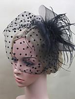 Women Fabric Hair Clip , Party Black Dot Veils Headpiece