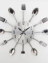 Cool Stylish Modern Design Wall Clock Silver Kitchen Cutlery Utensil Vintage Design Wall Clock Spoon Fork Home Decor