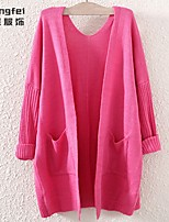 Women's Pink/Green/Beige Cardigan , Casual Long Sleeve