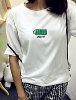 Women's Geometric White/Black T-shirt , Round Neck Short Sleeve