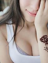 5Pcs   Waterproof Brown Roses Pattern Temporary Body Art Tattoo Sticker