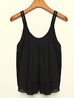 Women's Sexy Casual Cute Plus Sizes Inelastic Sleeveless Regular Blouse (Chiffon)