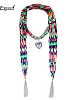 D Exceed Women's Fashion Boho Chiffon Scarves Abstract  Peach Heart Pendant Scarfs With Silver Tassles