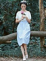 Women's Casual/Cute/Party/Work Inelastic Medium Knee-length Skirts Sweet (Cotton/Linen)