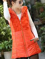 Women's Black/Orange/Yellow Parka Coat , Casual Sleeveless