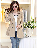 Women's Solid Pink/Yellow Trench Coat , Vintage/Party Long Sleeve Cotton