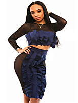 Women's Black Navy Frill Panel Skirt Set with Hollow out