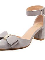 Women's Shoes Fleece Chunky Heel Pointed Toe/Closed Toe Pumps/Heels Casual Gray/Orange