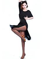 Women's Latin Dance Dresses Performance/Training Chinlon Tassel(s) 1 Piece