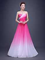Floor-length Chiffon / Polyester Bridesmaid Dress - Pool / Fuchsia Sheath/Column Strapless