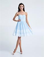 Homecoming Knee-length Chiffon Bridesmaid Dress - Sky Blue A-line Strapless