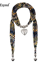 D Exceed Women's Ethnic Style Chiffon Scarf Necklace Peach Heart Pendant Scarfs Necklace with Silver Hearts
