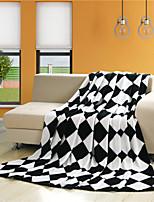 Couverture - 150cmx200cm, 180cmx200cm, 200cmx230cm,250cmx230cm - en Coton / Polyester - Blanc/Noir