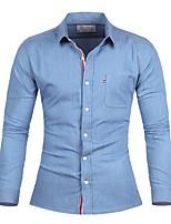 Men's Casual/Formal Long Sleeve Regular Shirt (Cotton)