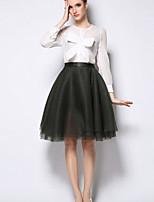 Women's Blue/Pink/White/Black T-shirt , Round Neck Long Sleeve