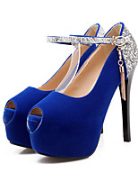 Women's Shoes Suede Stiletto Heel Heels/Peep Toe Sandals Wedding/Party & Evening Black/Blue/Red